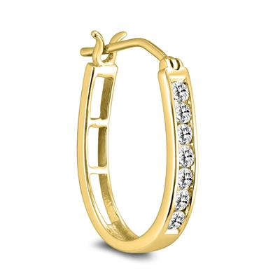 AGS Certified 1/2 Carat TW Diamond Hoop Earrings in 10k Yellow Gold