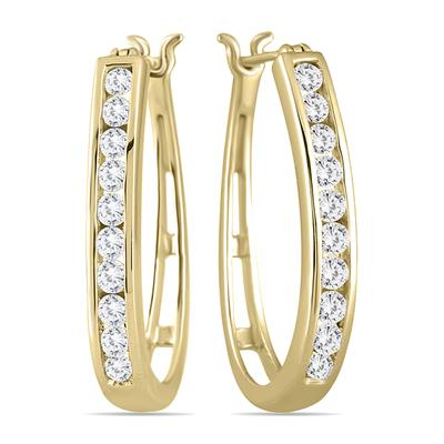 1 Carat TW Diamond Hoop Earrings in 10K Yellow Gold