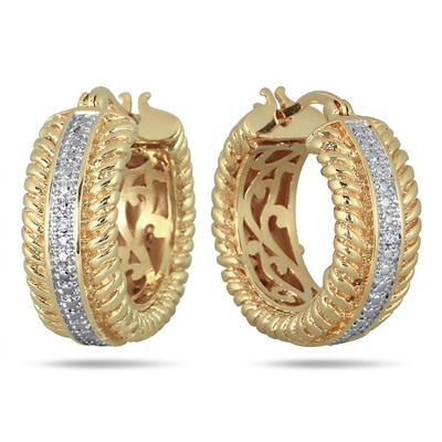 18K Gold Plated Brass Diamond Hoop Earrings