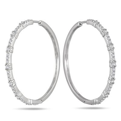 1/2 Carat Diamond Hoop Earrings in .925 Sterling Silver