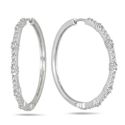 1 Carat Diamond Hoop Earrings in .925 Sterling Silver