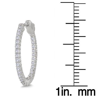 1 Carat TW Round Diamond Hoop Earrings with Push Down Button Lock in 10K White Gold