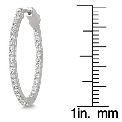 1 Carat TW Oval Diamond Hoop Earrings with Push Button Lock in 10K White Gold