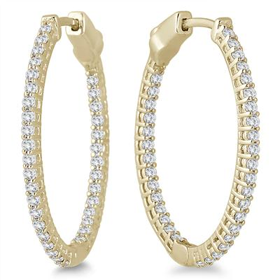 1 Carat TW Oval Diamond Hoop Earrings with Push Button Locks in 10K Yellow Gold