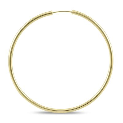 50MM Endless Hoop Earrings 14k Yellow Gold
