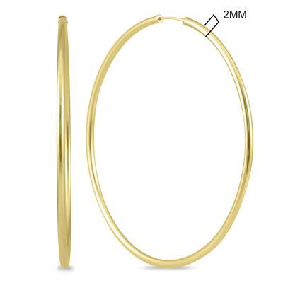 60MM Endless Hoop Earrings 14k Yellow Gold