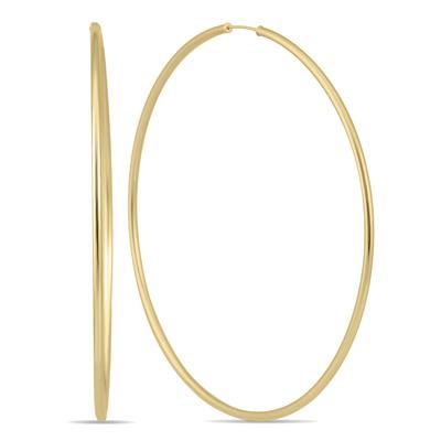 70MM Endless Hoop Earrings 14k Yellow Gold