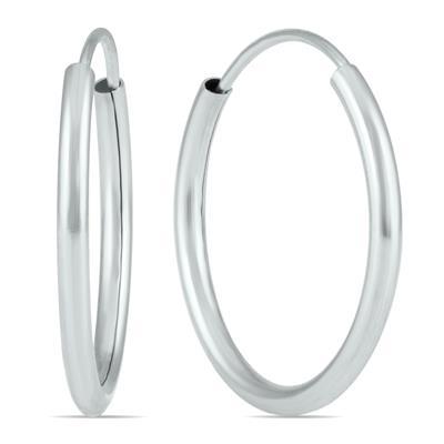 16MM Endless Hoop Earrings in 14k White Gold