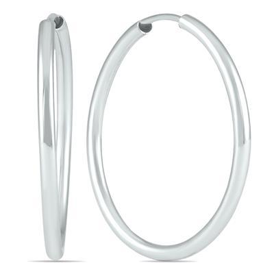 21MM Hoop Earrings in 14k White Gold