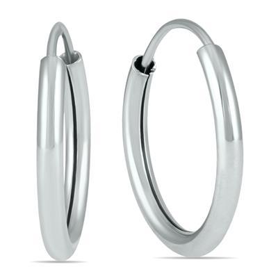 14MM Hoop Earrings 14k White Gold