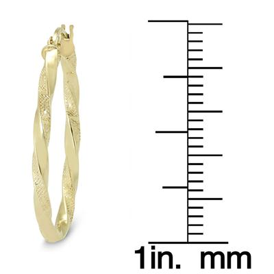 25MM Twisted Engraved Oval Hoop Earrings in 14K Yellow Gold