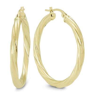 30MM Rope Hoop Earrings in 10K Yellow Gold