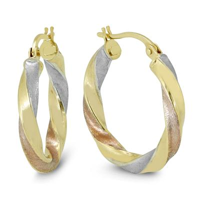 20MM Round Hoop Earrings in 10K Multi-Tone Gold