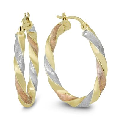 25MM Round Hoop Earrings in 10K Multi-Tone Gold