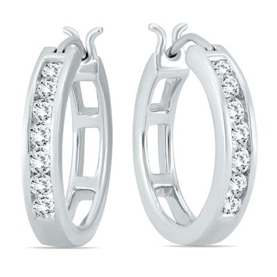 AGS Certified 1/2 Carat TW Diamond Hoop Earrings in 10k White Gold (K-L Color, I2-I3 Clarity)