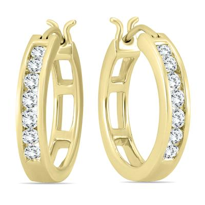 AGS Certified 1/2 Carat TW Diamond Hoop Earrings in 10K Yellow Gold (K-L Color, I2-I3 Clarity)