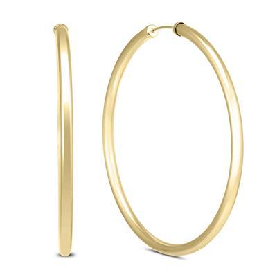 50MM 14K Yellow Gold Filled Endless Hoop Earrings (3mm Gauge)