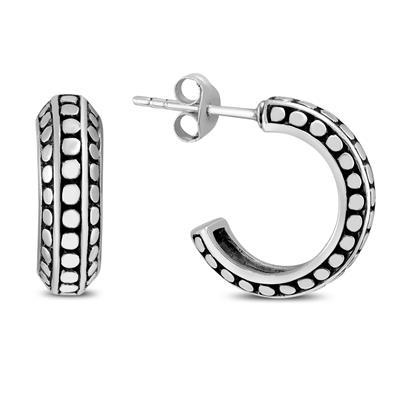 Antique Finished J Hoop Earrings in .925 Sterling Silver