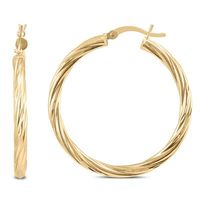 35mm Twisted Rope Hoop Earrings in Gold Plated .925 Sterling Silver