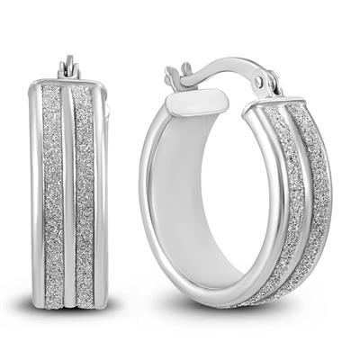 Szul Double Row Round Sparkle Dust Hoop Earrings