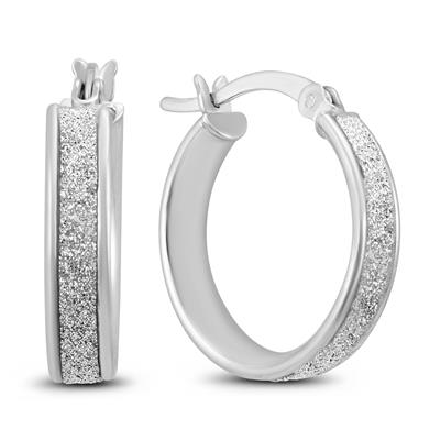 Shimmer Sparkle Dust Hoop Earring in .925 Sterling Silver