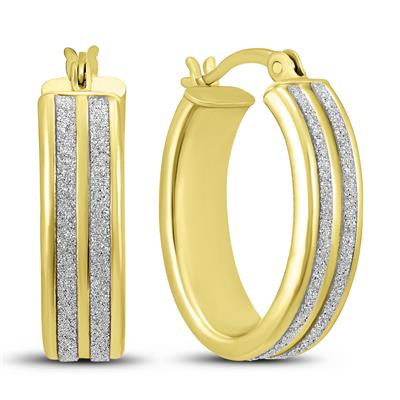 Double Sparkle Dust Hoop Earrings in Gold Plated .925 Sterling Silver