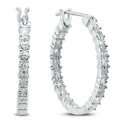 Illusion Set Genuine Diamond Hoop Earrings in .925 Sterling Silver