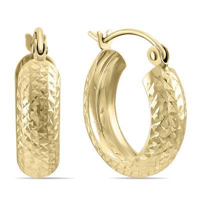 14K Yellow Gold Hammered Huggie Hoop Earrings