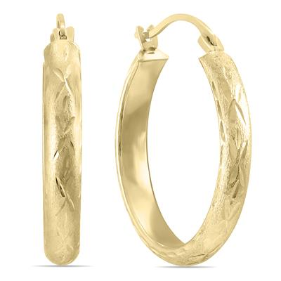 14K Yellow Gold Brushed Hoop Earrings with Diamond Cut Engraving (20mm)