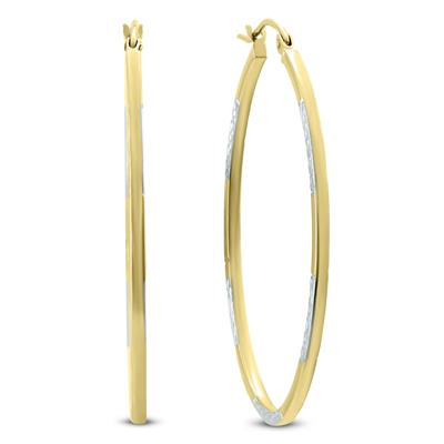 14K Yellow Gold Two Toned Hoop Earrings with Diamond Cut Rhodium Accents (42mm)