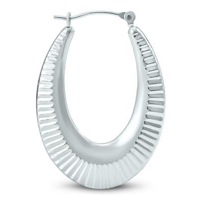 Engraved U Shaped 14K White Gold Hoop Earrings
