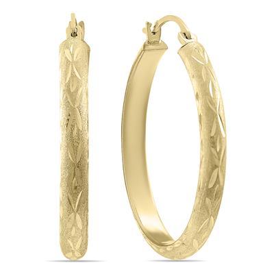 14K Yellow Gold Shiny Diamond Cut Engraved Hoop Earrings (26mm)