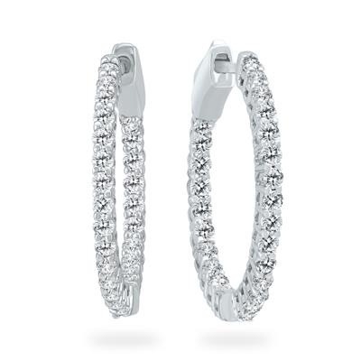 AGS Certified 1 Carat TW Round Diamond Hoop Earrings with Push Down Button Locks in 14K White Gold