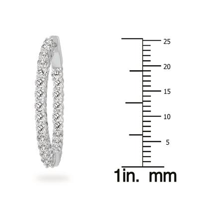 AGS Certified 2 Carat TW Round Diamond Hoop Earrings with Push Down Button Locks in 14K White Gold