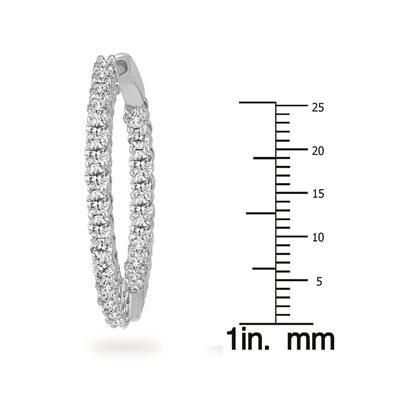 3 Carat TW Round Diamond Hoop Earrings with Push Down Button Lock in 14K White Gold
