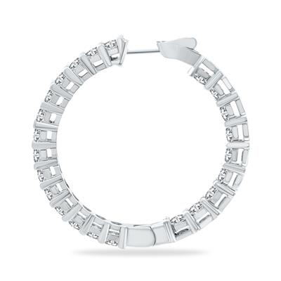 10 Carat TW Round Diamond Hoop Earrings with Push Down Button Lock in 14K White Gold