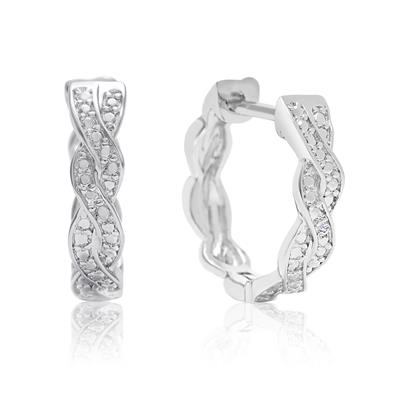 1/2 Inch Diamond Swirl Hoop Earrings with Hidden Snap Back Claps