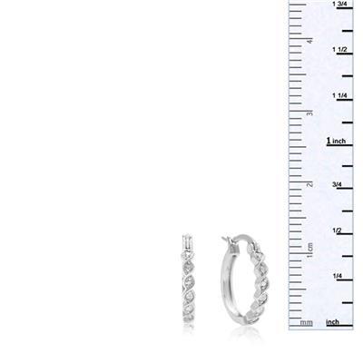 Diamond Twist Hoop Earrings, 1/2 Inch