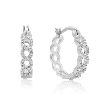 Infinity Diamond Hoop Earrings with Rhodium Overlay, 3/4 Inch