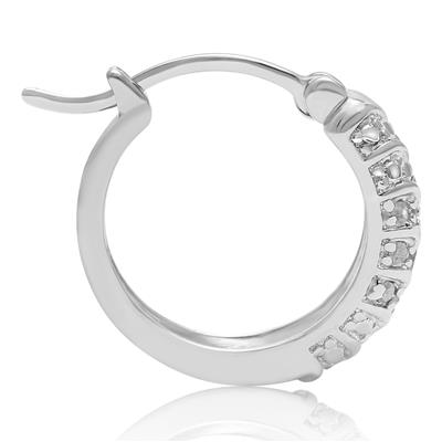 1/4 Carat 4-Row Diamond Hoop Earrings, 1/2 Inch