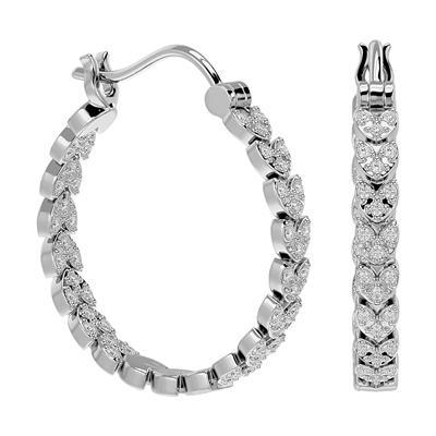 1/4 Carat TW 4-Row Moissanite Hoop Earrings, 1/2 Inch