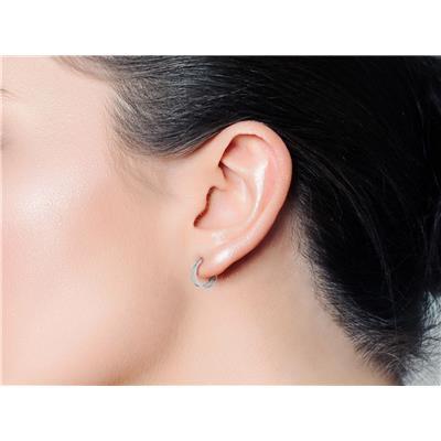 1 Carat TW Split Diamond Hoop Earrings In .925 Sterling Silver, 3/4 Inch (J-K, I1-I2)