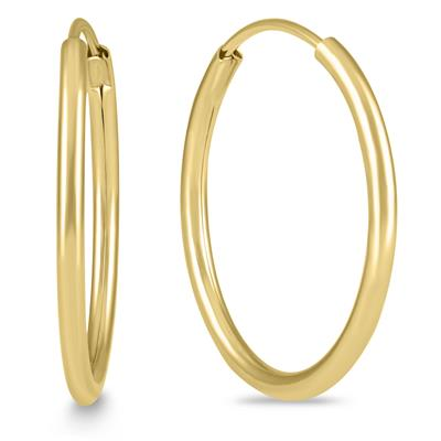 3/4 Inch Endless 14K Yellow Gold Filled Hoop Earrings (20mm Diameter)
