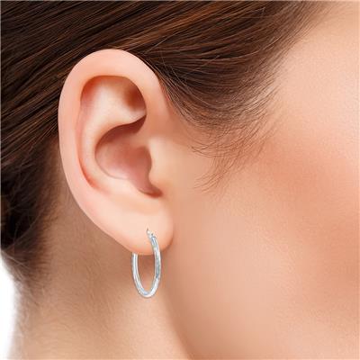 14K White Gold Shiny Diamond Cut Engraved Hoop Earrings (25mm)