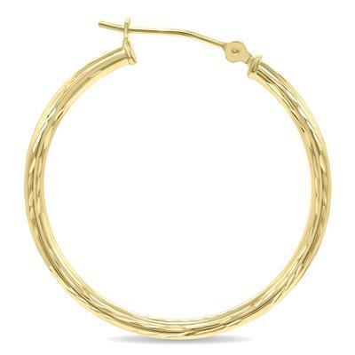 14K Yellow Gold Shiny Diamond Cut Engraved Hoop Earrings (30mm)