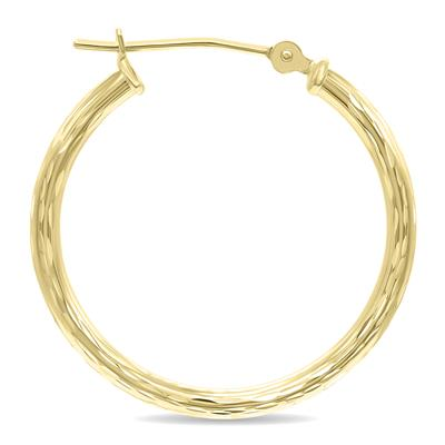 10K Yellow Gold Shiny Diamond Cut Engraved Hoop Earrings (25mm)