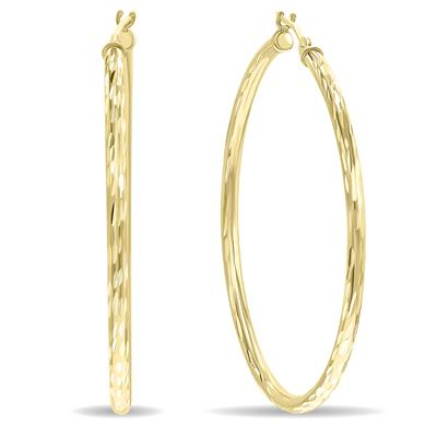 10K Yellow Gold Shiny Diamond Cut Engraved Hoop Earrings (40mm)
