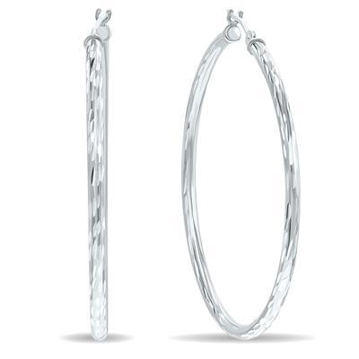 10K White Gold Shiny Diamond Cut Engraved Hoop Earrings (40mm)