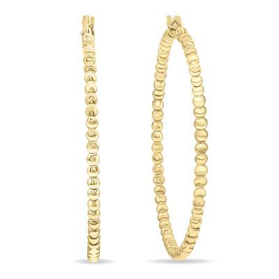 38mm 14K Gold Filled Beaded Hoops Earrings (1 1/2 Inch Diameter)
