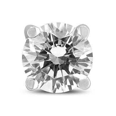 3/8 Carat Round Single Stud Diamond Earring in 14K White Gold